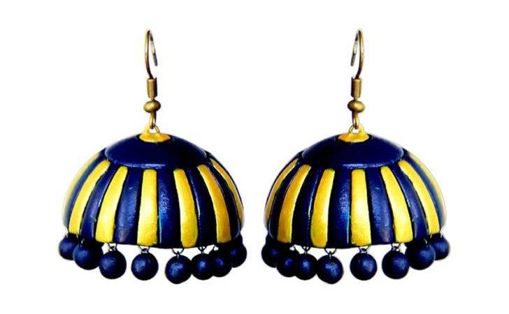 Blue Yellow Berries Terracotta Earrings Buy Pulpypapaya