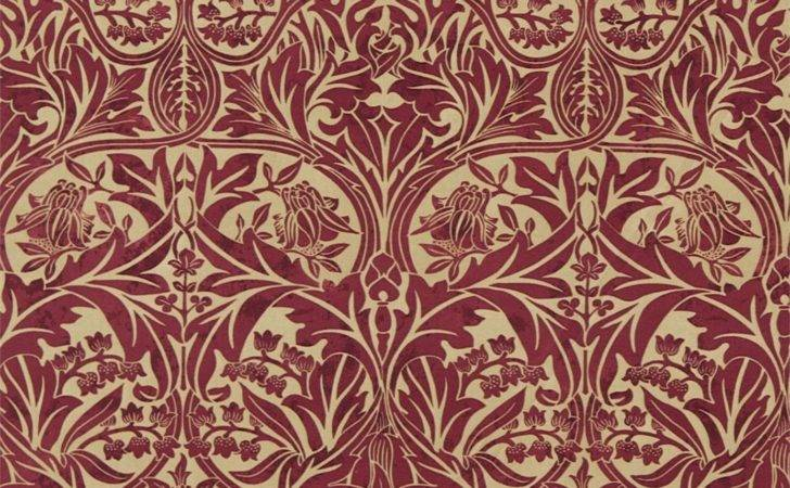 Bluebell Fabric Claret Gold William Morris Archive