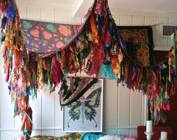 Bohemian Bed Canopy Boho Hippy Vintage Scarves Gypsy Hippie Patchwork