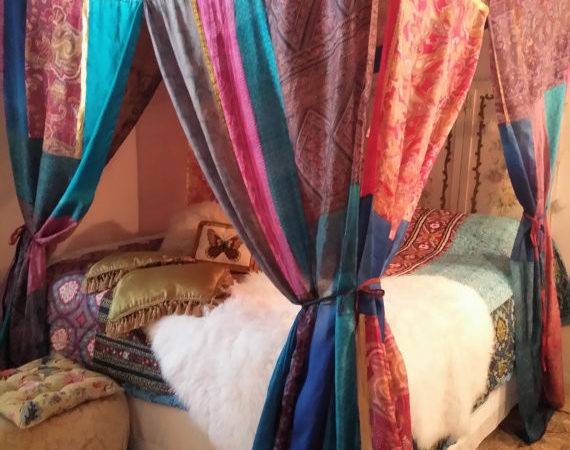 Boho Bed Canopy Gypsy Hippie Hippy Hippiewild Patchwork India Sari