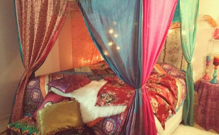 Boho Bed Canopy Gypsy Hippie Hippy India Sari Scarves Bedroom