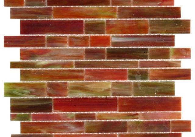 Bonfire Random Bricks Red Brick Victorian Glossy Glass Modern Tile