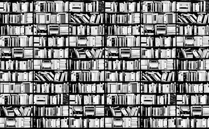 Bookshelf Graphic Black White Wall Mural