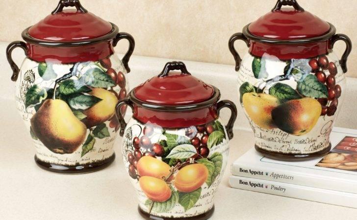 Botanical Fruit Kitchen Canister Set Merlot Three