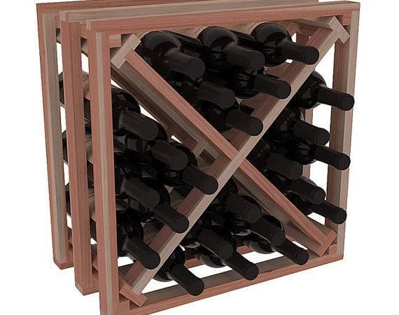 Bottle Lattice Wine Cube Storage Rack Kit Redwood Stains