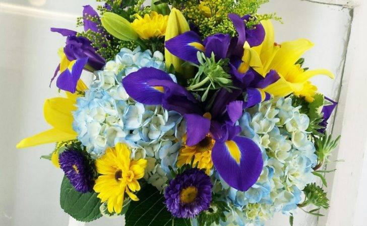 Bouquets Royal Purple Blue Yellow Wedding Flowers