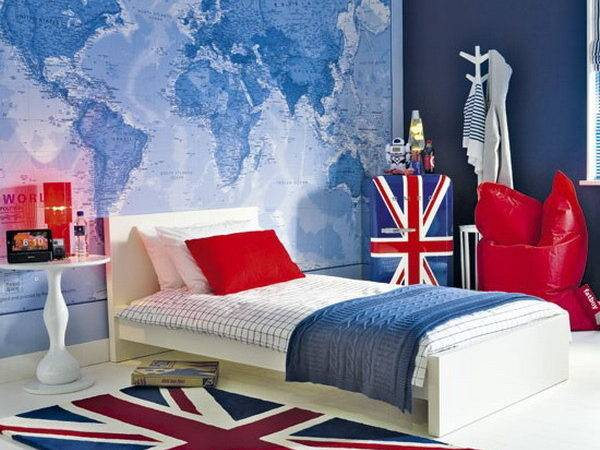 Boys Room Ideas Within British Bedroom Theme Map Decor