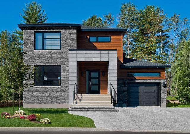 Brick Veneer Siding Exterior Contemporary Black Garage Door