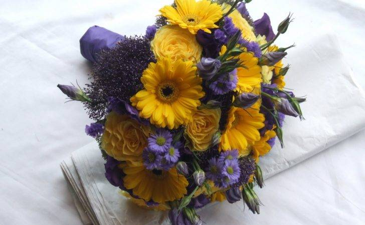 Brides Bouquet Compliment Their Purple Gowns Yellow Shoes