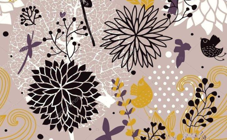 Bright Abstract Floral Vector Seamless Pattern Can