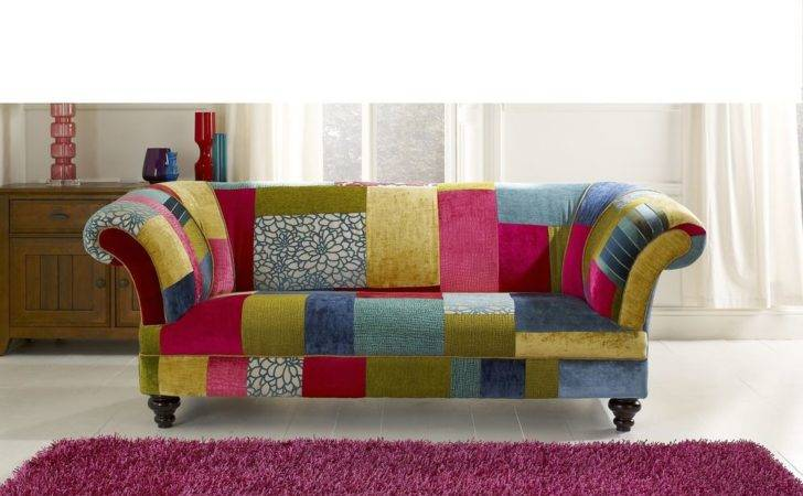 Bright Coloured Patch Work Chesterfield Sofa Brand New Ebay