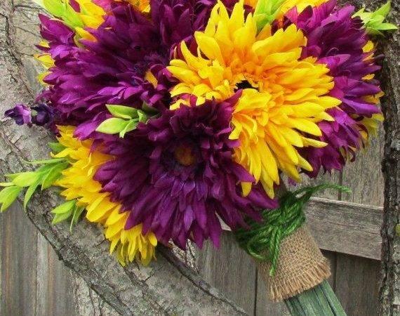 Bright Daisy Bouquet Colorful Yellow Purple Flower Arrangement