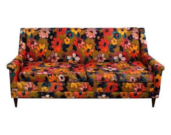 Bright Floral Sofa Mid Century Modern Vintage Themodernhistoric
