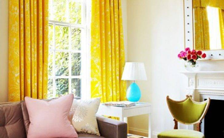Bright Living Room Yellow Curtains Awesome Colorful