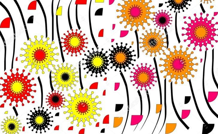 Bright Modern Geometric Abstract Design Floral Motif Two