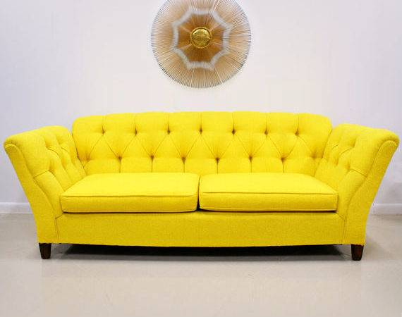 Bright Yellow Button Tufted Sofa Modern Historic