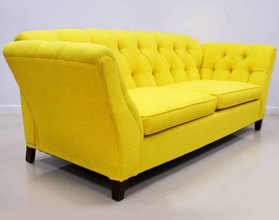 Bright Yellow Button Tufted Sofa Modern Historic