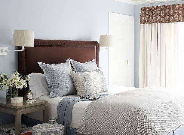 Brown Blue Bedroom Gray Nightstands Trellis Rug