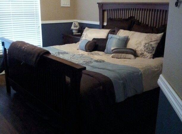 Brown Blue Bedroom