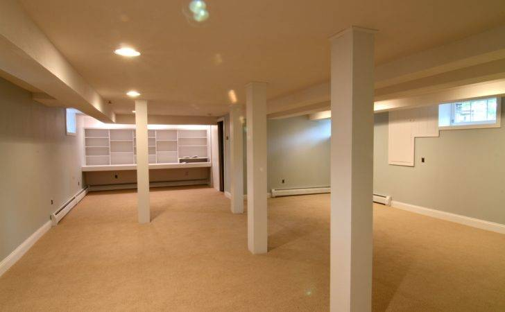Brown Exposed Concrete Floor Basement Painting Color White