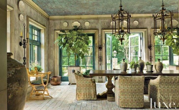 Brown Mediterranean Style Arched Front Door Luxe Interiors Design
