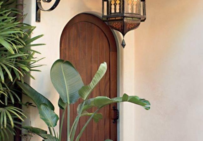 Brown Mediterranean Style Arched Front Door Photos