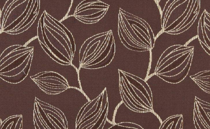 Brown White Large Leaves Contemporary Upholstery