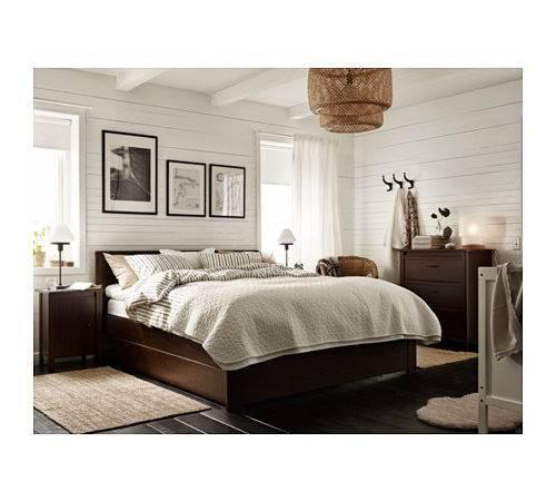 Brusali Bed Frame Storage Boxes Brown Leirsund Standard King