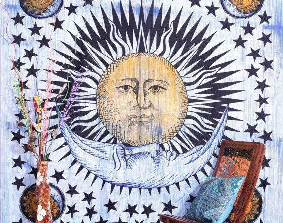 Brush Stroke Sun Moon Tapestry Aanjaneya Etsy