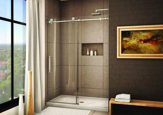 Brushed Frameless Sliding Shower Door System Modern Showers Hong
