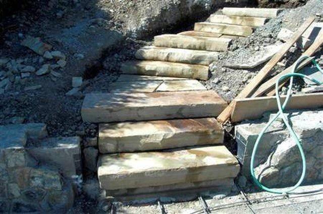 Build Stone Block Steps Hillside Hunker