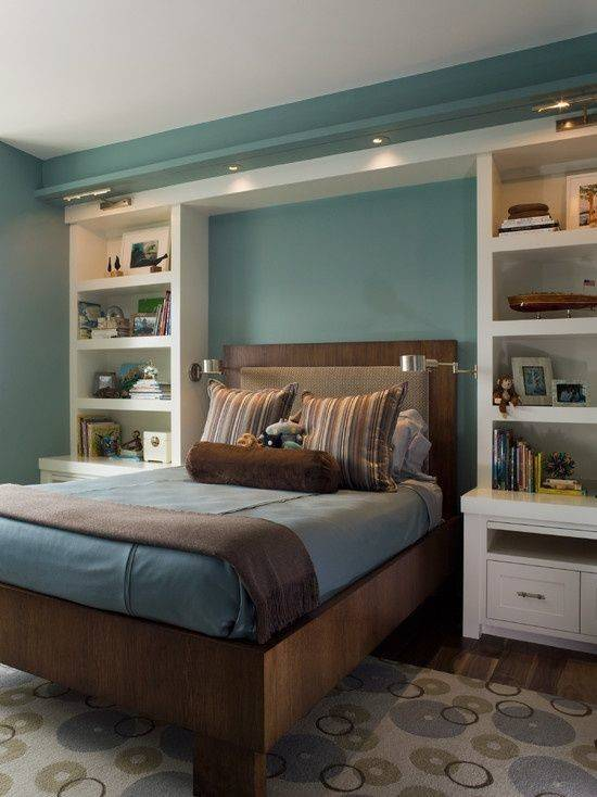Built Bookshelves Nightstands Around Bed Decor Ideas Pinterest