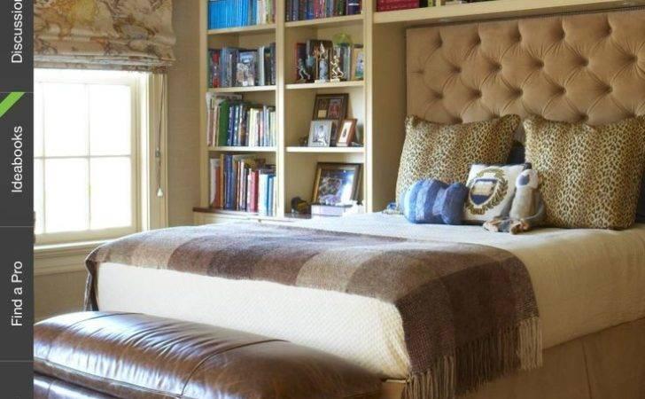 Built Shelving Around Bed Upholstered Backboard