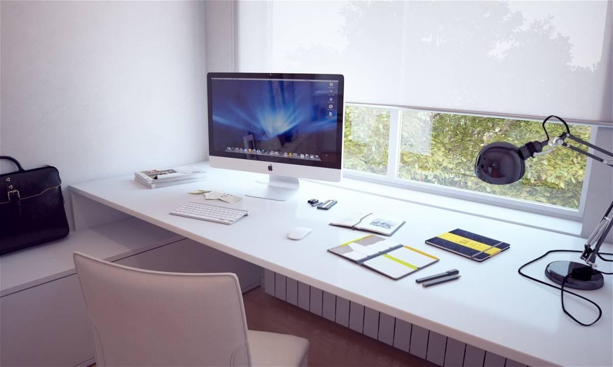 Built White Desk Interior Design Ideas