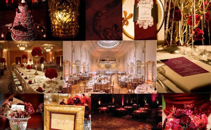 Burgundy Gold Wedding Theme Car Interior Design