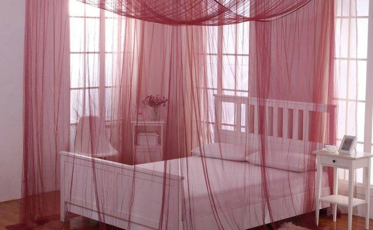 Burgundy Red Four Post Bed Canopy Netting Curtains Sheer