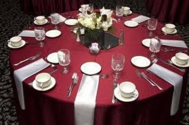 Burgundy Wedding Maroon Silver Table Setting
