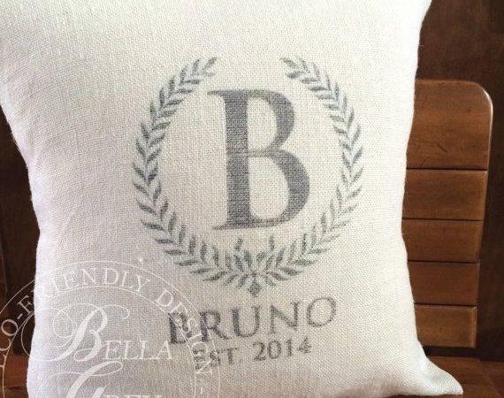 Burlap Monogram Pillow Cover Bridal Shower Gift Wedding Anniver