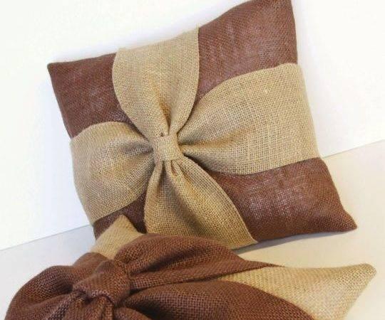 Burlap Pillow Cover Bow Diy Pillows Decorative