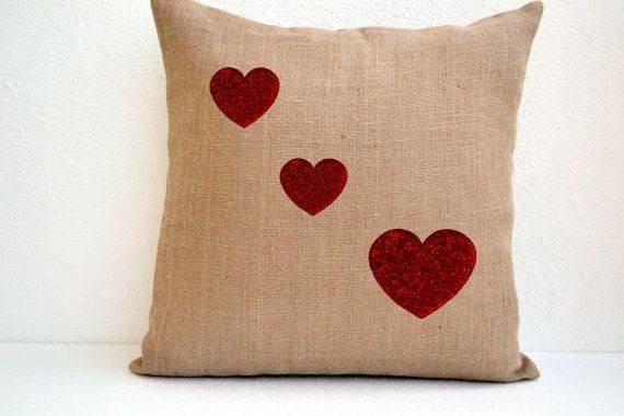 Burlap Pillow Cover Red Heart Decorative Cushion