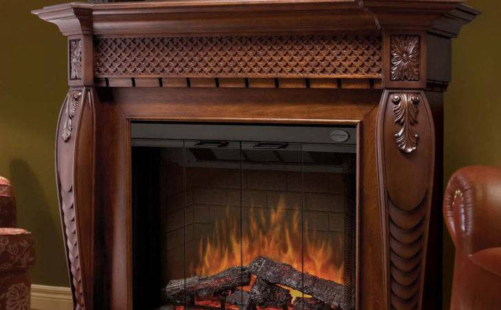 Burnished Walnut Electric Fireplace Mantel Package Sep