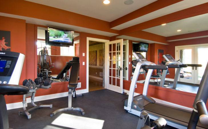 Burnt Orange Paint Color Home Gym Traditional None