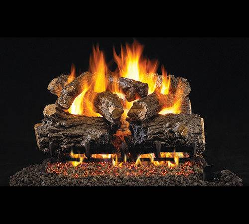 Burnt Rustic Oak Gas Log Set Fireplace Place