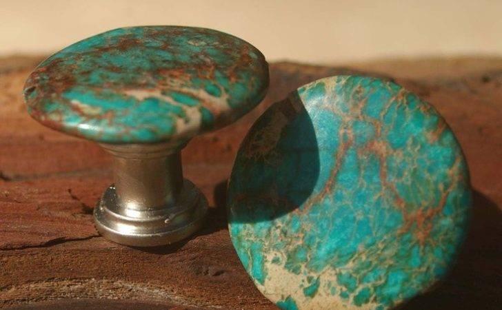 Cabinet Knobs Drawer Pulls Round Blue Sea Sediment Set