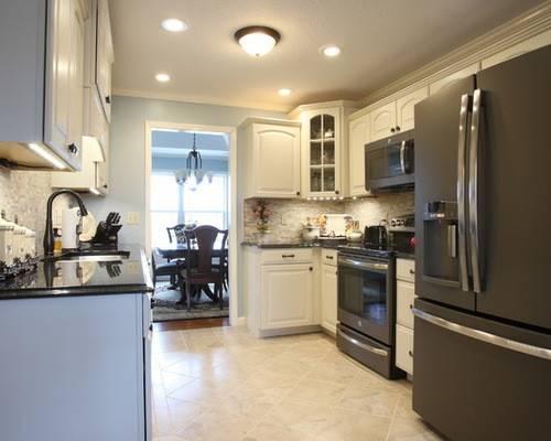 Cabinets Beige Granite Countertops Gray Backsplash