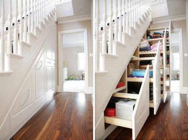 Cabinets Vanish Under Staircase Spacious Shelves Stairs