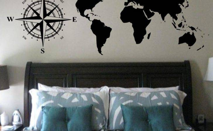 Cacar Hot Wall Stickers Compasses World Map Decals