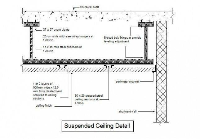 Cad Detail Suspended Ceiling Section Cadblocksfree