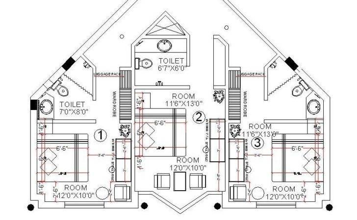 Cad Drawing Hotel Room Design Layout Cadblocksfree