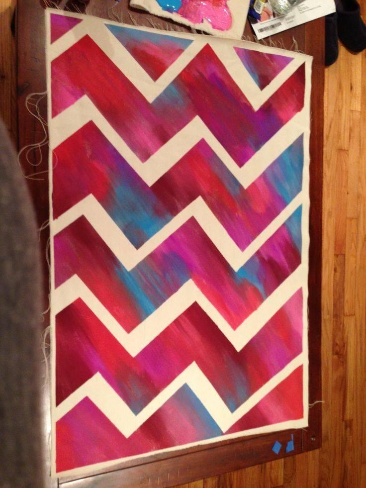 Canvas Chevron Painting Diy Crafts Pinterest